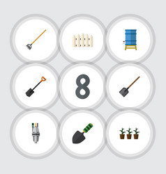 flat icon dacha set of spade flowerpot wooden vector image