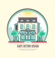 Flat style icon design of cafe building vector