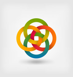 four interlocked circles in gradient rainbow vector image