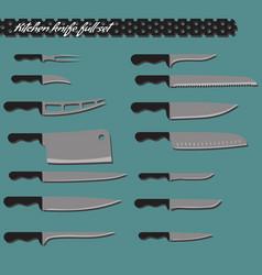 full set kitchen knives vector image