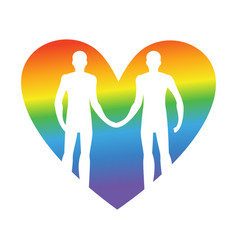 gay love lgbt heart guys hold hands together vector image