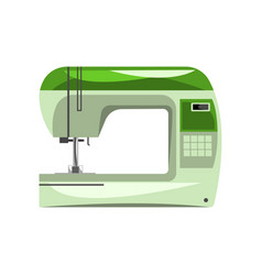 Green modern electronic sewing machine vector