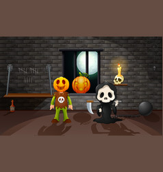 Grim reaper and pumpkin mask in the house vector