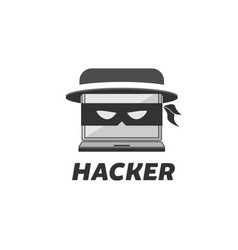 hacker logo design vector image