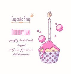 Hand drawn cupcake special birthday flavor vector