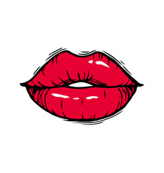 hand drawn female red lips vector image