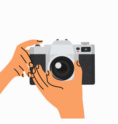 hand holding taking with camera vector image