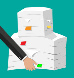 Hand with pile of papers office documents heap vector