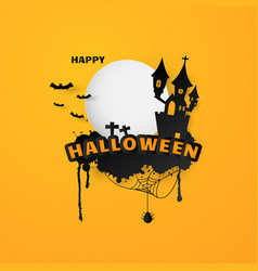 happy halloween text banner background paper cut vector image