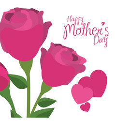 Happy mothers day pink roses hearts decorative vector