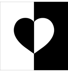 Heart on two color monochrome background t shirt vector