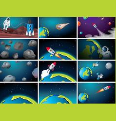 Huge space scene set vector