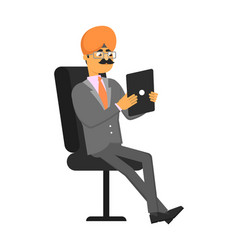 indian businessman with tablet computer vector image