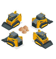 isometric tracked compact excavators orange steer vector image