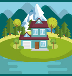 Landscape with house and lake scene vector