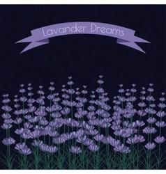 Lavender sprigs on dark ink spots background vector