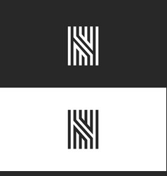 Letter n logo icon linear maze design vector