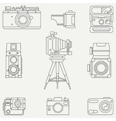 Line flat icon set with retro analog film vector image