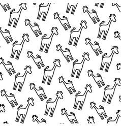 line silhouette giraffe safari animal background vector image