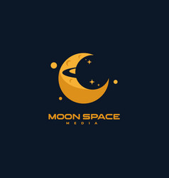 Logo moon negative space style vector