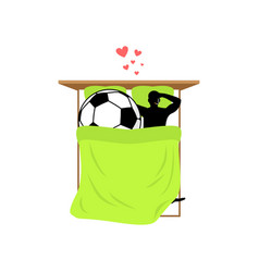lover soccer guy and football ball in bed lovers vector image