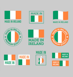 made in ireland icon set product labels of vector image