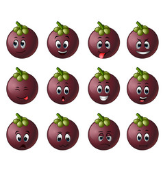 mangosteen with different emoticon vector image