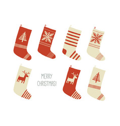 merry christmas card christmas stockings vector image