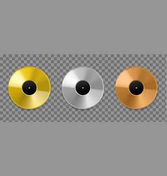 metal vinyl record realistic golden bronze vector image