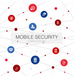 Mobile security trendy web template with simple vector