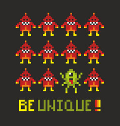 Motivating poster with pixel monsters vector