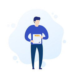 Nda non disclosure agreement man holding form vector