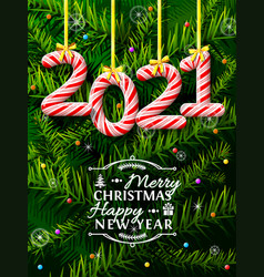 new year 2021 in shape candy stick against vector image