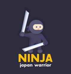 ninja holding katana swords in hands in flat style vector image