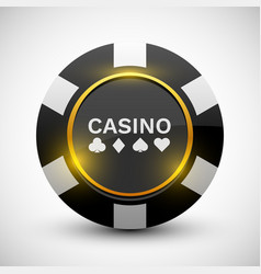 Online casino banner black chip isolated on white vector
