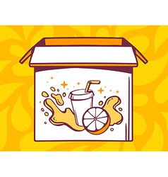 Open box with icon of fresh fruit juice vector