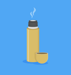 opened thermos with hot drink vector image