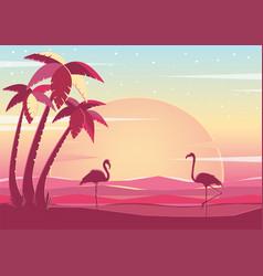Pink flamingo at sunset vector
