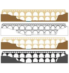 Pont du gard aqueduct in france vector