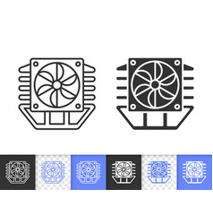 processor cooler simple black line fan icon vector image