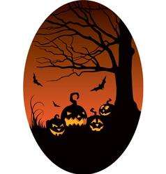 Pumpkins in Halloween night vector image