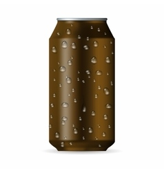 Realistic brown aluminum can with drops vector