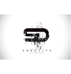 Sd s d grunge brush letter logo design in black vector