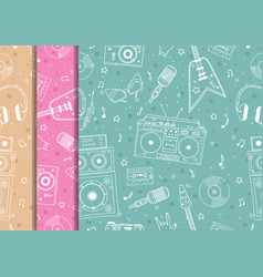 seamless pattern with hand drawn retro musical vector image