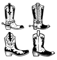 set cowboy boots in tattoo style design vector image
