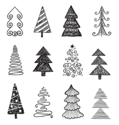 set doodle hand drawn christmas trees vector image