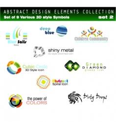 set of 3d design elements vector image