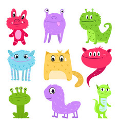set of multi-colored cartoon cute monsters not vector image