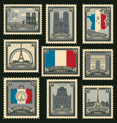 Set of postage stamps on the travel theme vector
