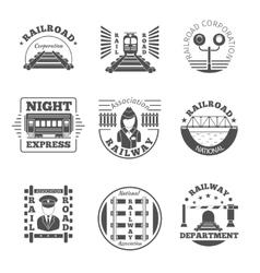 set railway emblem railroad labels or vector image